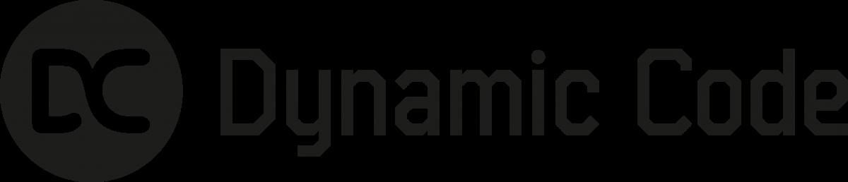 Logotyp för Dynamic Code, svartvit