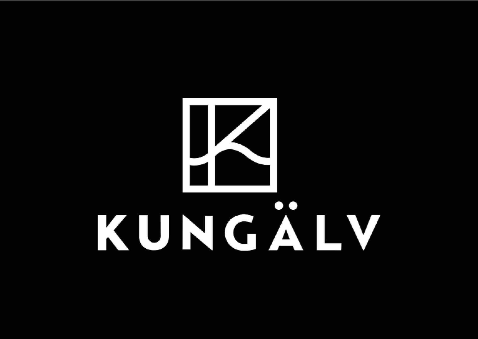 Vit logotyp för platsen Kungälv - framtagen av Identx