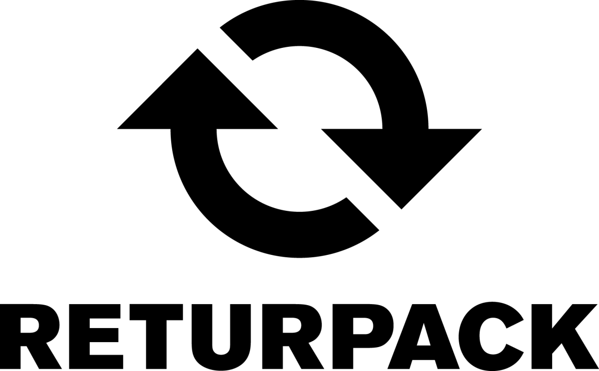 Logotyp för Returpack, svartvit