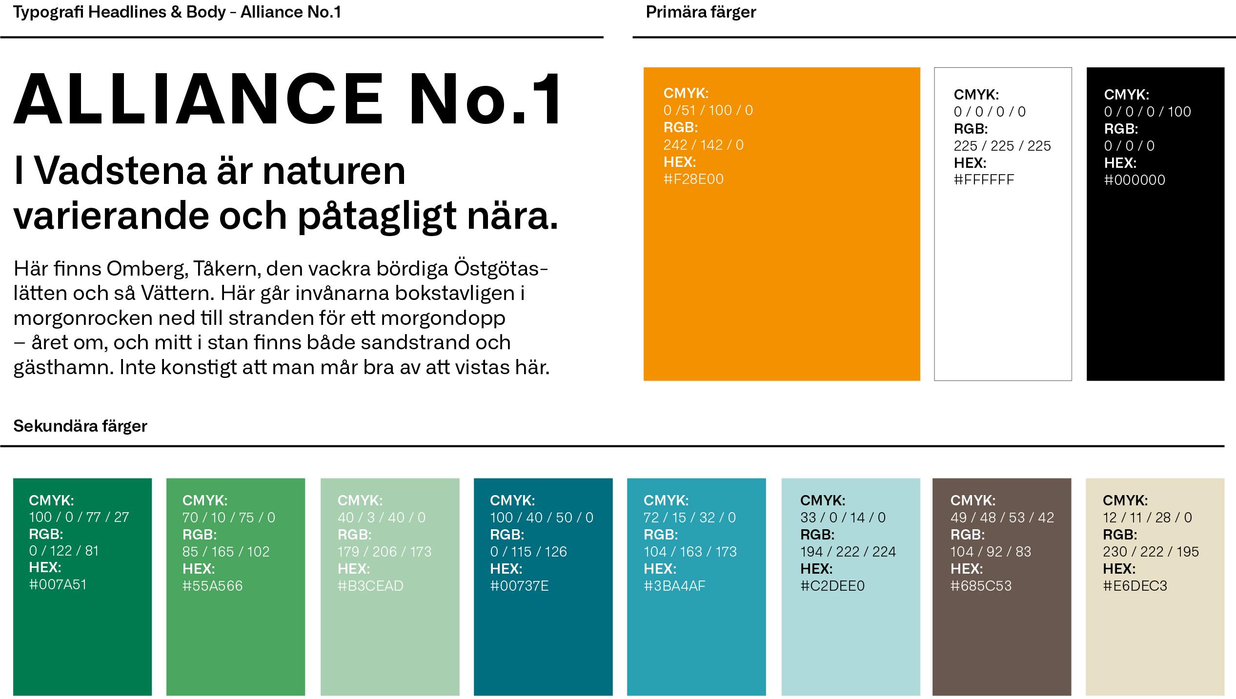 Typsnitt och färger ur platsen Vadstenas grafiska profil, framtagen av Identx