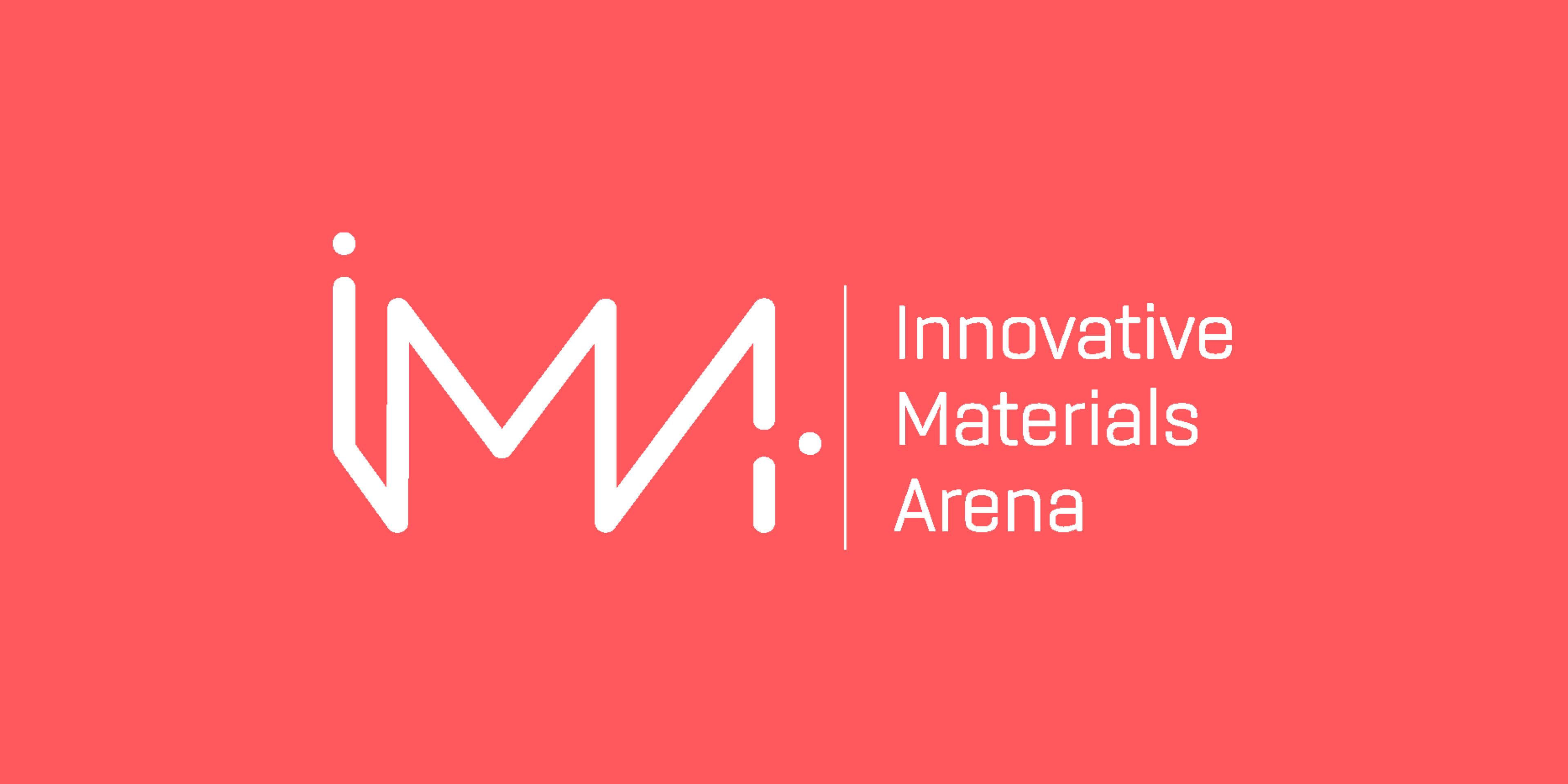 Logotyp för IMA - Innovatie Materials Arena, röd bakrund