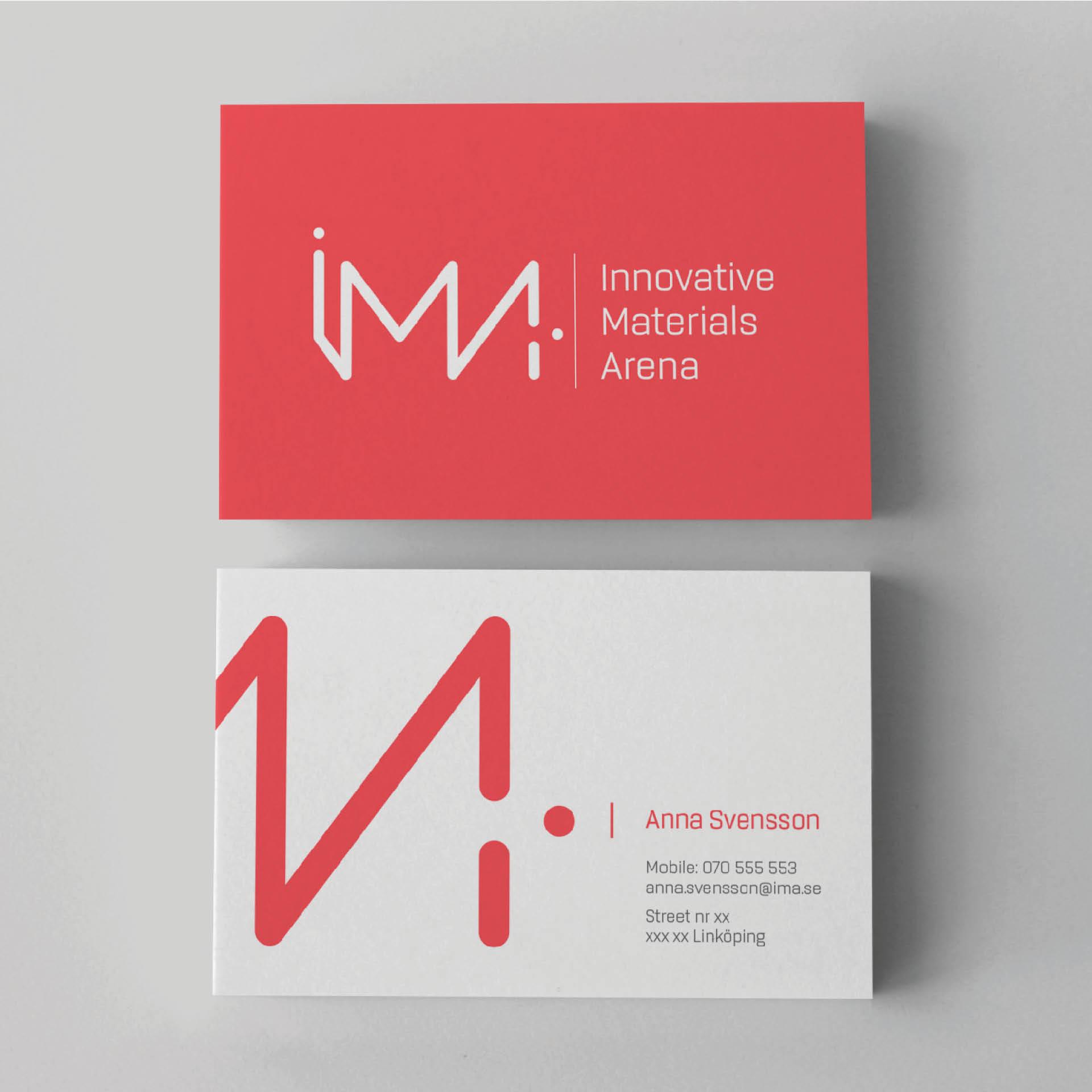 Visitkort för IMA - Innovatie Materials Arena