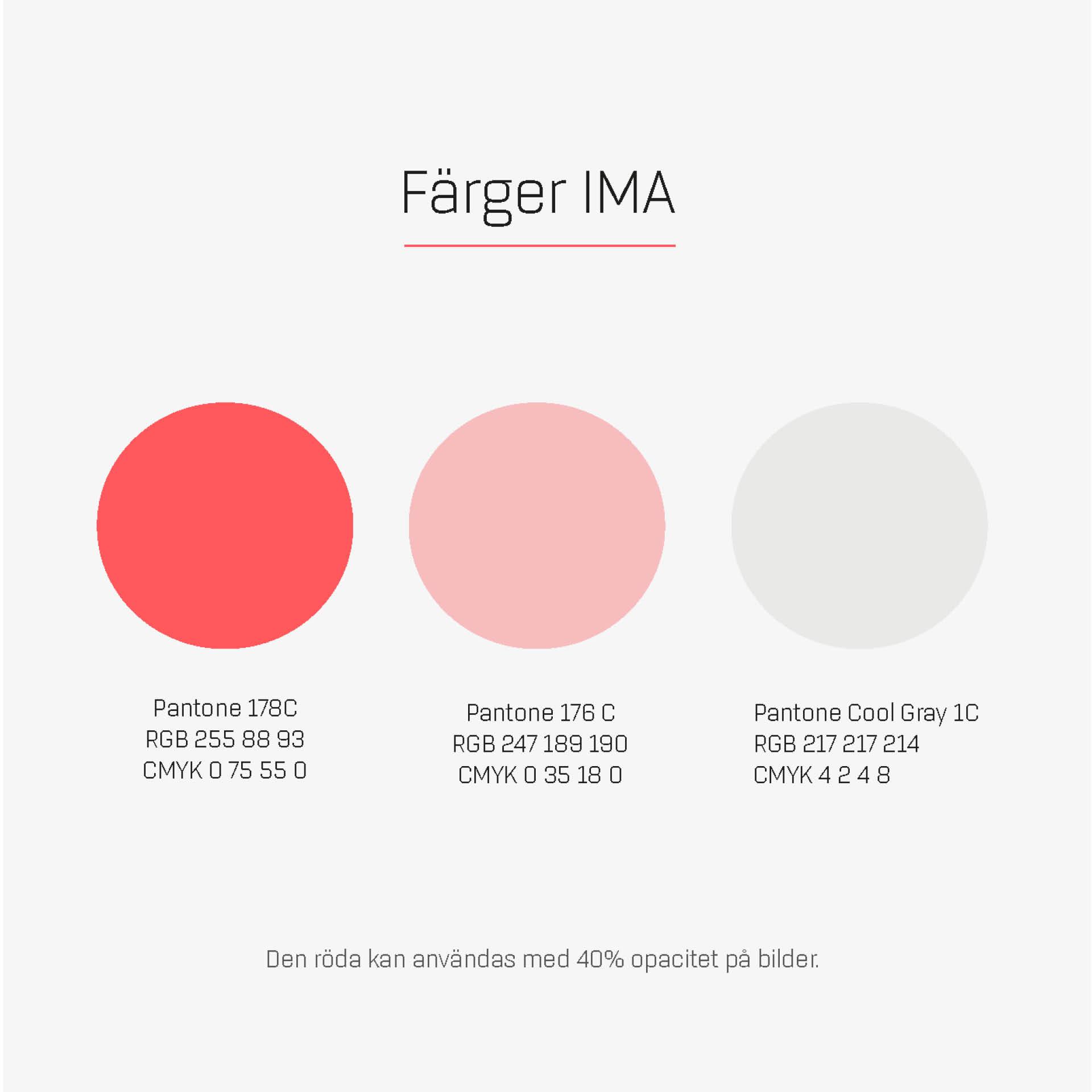 Färger ur den grafiska profilen för IMA - Innovatie Materials Arena