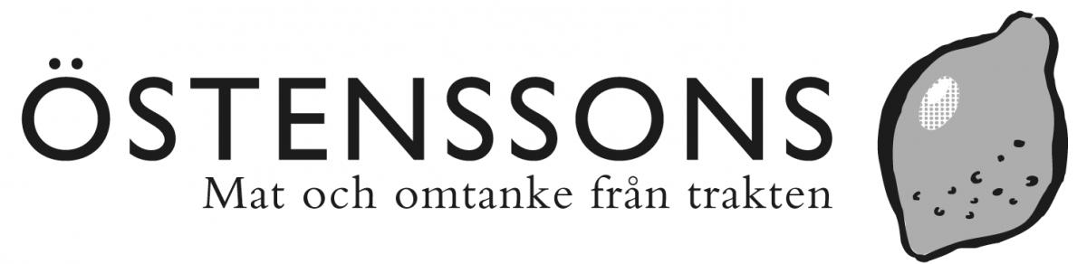 Logotyp för Östenssons, svartvit